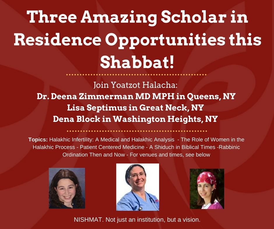 Three Amazing Scholar in Residence Opportunities this Shabbat!